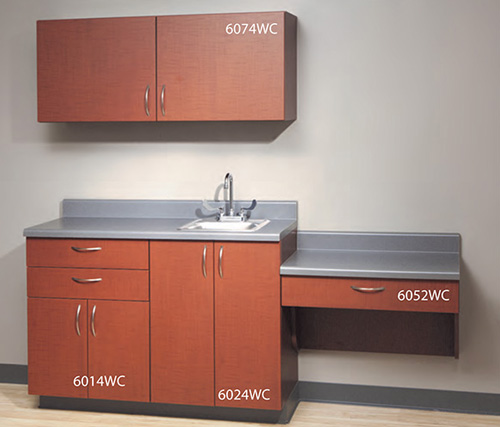 UMF Medical Wooden Cabinets in Cherry Anigre Finish